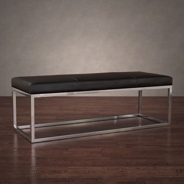 Manhattan Black And Stainless Steel Modern Leather Bench Overstock Shopping Great Deals On