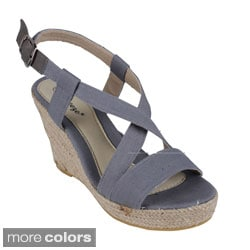 Reneeze Women's 'Echo-02' Criss-cross Wedge Sandals