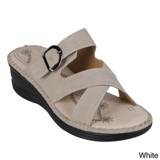 Reneeze Women's 'Christal-01' Mid-Wedge Slide Sandals
