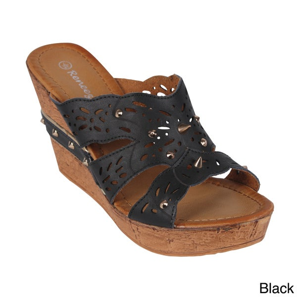 Reneeze 'CALM-01' Women's Studded Peep-toe Slip-on Wedge Sandals