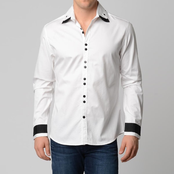 V.I.P. Collection Men's White Slim-Fit Long Sleeve Button Down Shirt