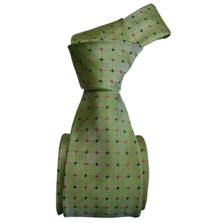 Dmitry Men's Light Green Patterned Italian Silk Tie