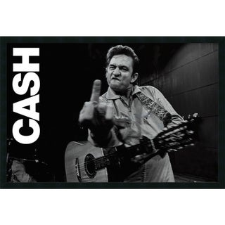 Johnny Cash - Finger' 37 x 25-inch Framed Art Print with Gel Coated Finish