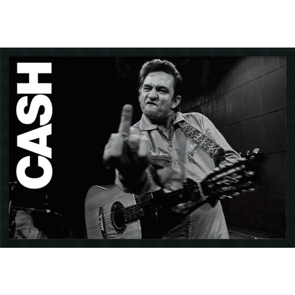 Johnny Cash - Finger' Framed Art Print with Gel Coated Finish