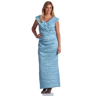 Alex Evenings Women's 2-piece Stretch Portrait Collar Taffeta Gown