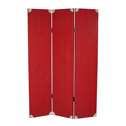 Elric Red 3-Panel Leather Screen (China)
