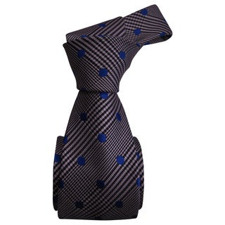 Dmitry Men's Grey Polka Dot Patterned Italian Silk Tie