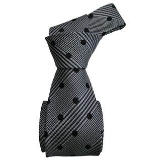 Dmitry Men's Grey with Black Polka Dots Italian Silk Tie