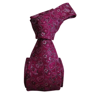 Luxurious Dmitry Men's Pink Patterned Italian Silk Tie