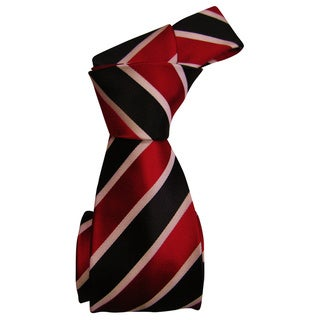 Dmitry Men's Red Striped Italian 100 Percent Silk Tie