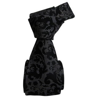 Dmitry Men's Black Patterned Italian Silk Tie