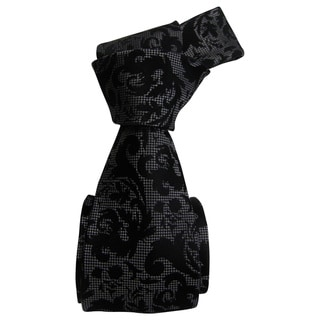Dmitry Men's Charming Black Patterned Italian Silk Tie