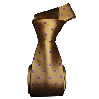 Dmitry Men's Tan/ Purple Polka Dot Patterned Italian Silk Tie