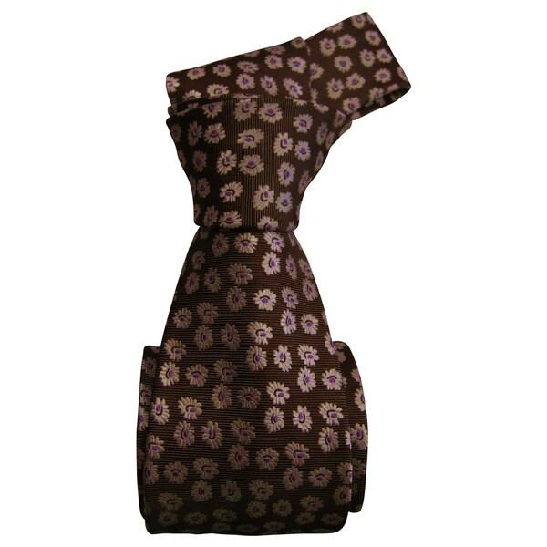 Dmitry Men's Light Brown Italian Patterned Silk Tie