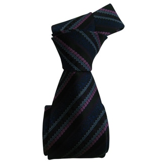 Eye-Catching Dmitry Men's Black Patterned Italian Silk Tie