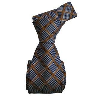 Dmitry Men's Italian Navy Patterned Silk Tie