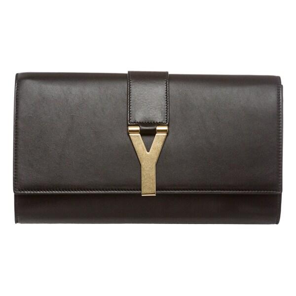 Saint Laurent Black Leather 'Y' Clutch