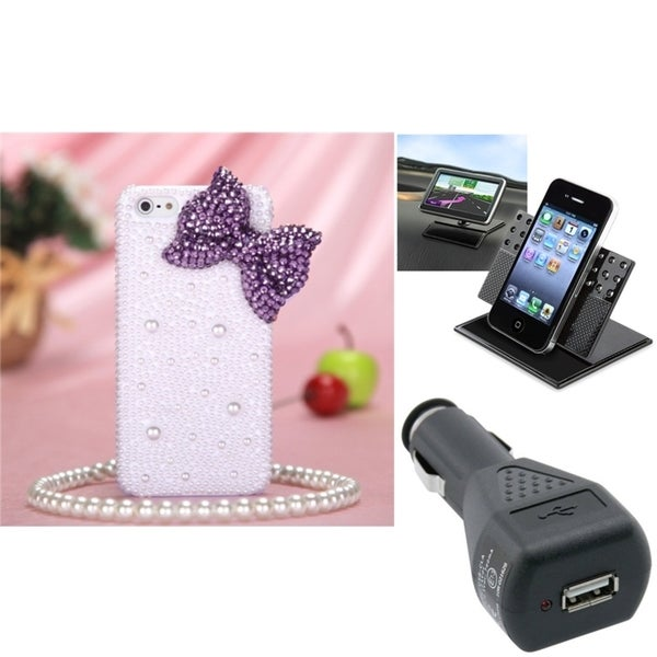 INSTEN Car Charger/ Phone Holder/ Purple Bow Phone Case Cover for Apple iPhone 5