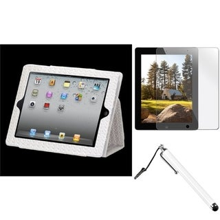 BasAcc Gray Case/ Stylus/ Screen Protector for Apple iPad 2/ 3/ 4