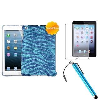 INSTEN Blue Zebra Tablet Case Cover/ Stylus/ LCD Protector for Apple iPad Mini