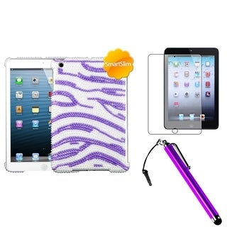 BasAcc Purple Zebra Case/ Stylus/ LCD Protector for Apple iPad Mini