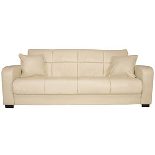Portfolio Turco Convert-a-Couch Cream Renu Leather Futon Sofa Sleeper