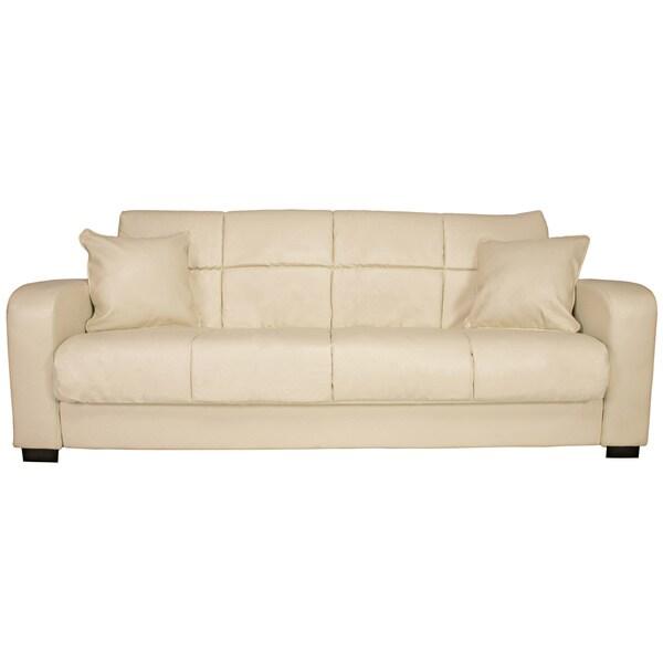 Portfolio Turco Convert-a-Couch® Cream Renu Leather Futon Sofa Sleeper