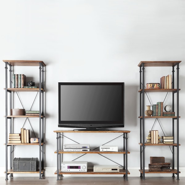 Tribecca Home Myra Vintage Industrial Modern Rustic 3 Piece Tv Stand Set Overstock Shopping