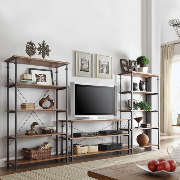 Industrial Modern Rustic 3-piece TV Stand and 40-inch Bookcase Set