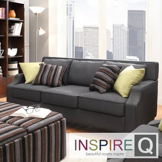 Inspire Q Harrison Charcoal Linen Sloped Track Arm Sofa