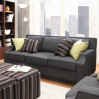 Harrison Charcoal Linen Sloped Track Arm Sofa