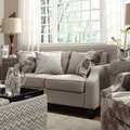 Inspire Q Harrison Beige Grey Linen Sloped Track Arm Loveseat