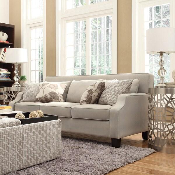 Inspire Q Harrison Beige Grey Linen Sloped Track Arm Sofa