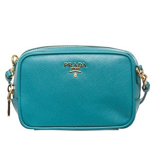 Prada Teal Saffiano Leather Mini Zip Crossbody Bag - 15510436 ...
