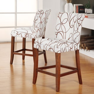 Tribecca Home Decor Modern Brown Swirl Scroll Print Upholstered Barstools (Set of 2)