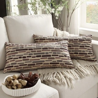 Kayla Geometric Fabric Rectangular Throw Pillows (Set of 2)