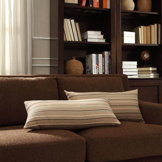 INSPIRE Q Drexel Mocha Brown Stripe Kidney Pillow (Set of 2)