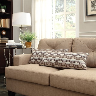 INSPIRE Q Drexel Mocha Wavy Stripe Kidney Pillow (Set of 2)