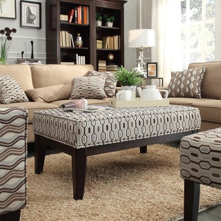 INSPIRE Q Ashland 42-inchMocha Honeycomb Upholstered Cocktail Ottoman