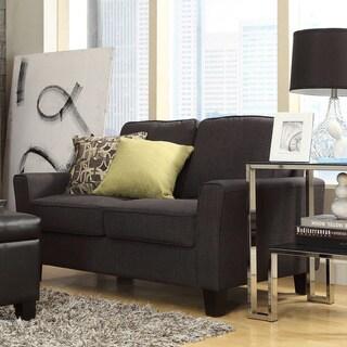 Inspire Q Hampton Charcoal Linen Upholstered Track Arm Loveseat