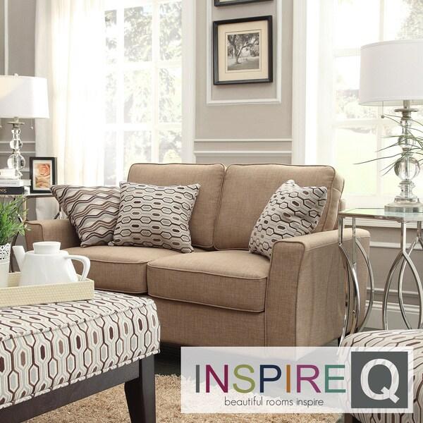 Inspire Q Hampton Mocha Linen Upholstered Track Arm Loveseat