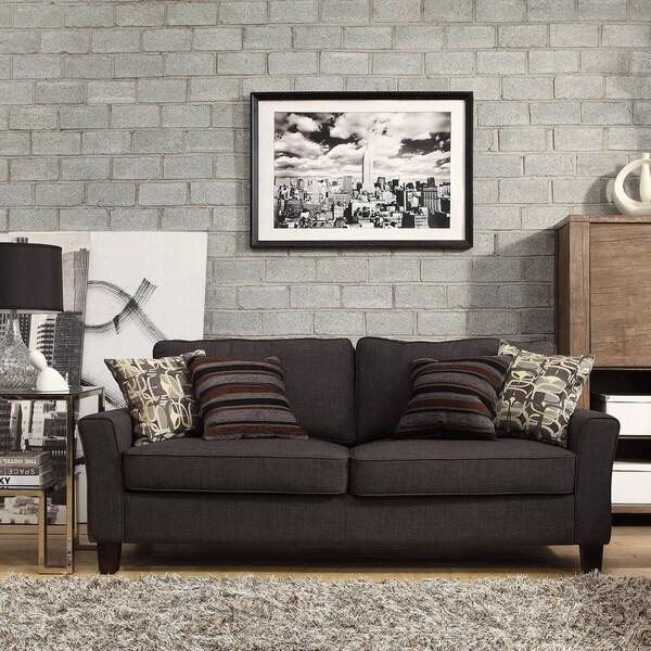 Inspire Q Hampton Charcoal Linen Upholstered Track Arm Sofa