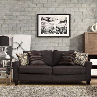 Inspire Q Hampton Charcoal Linen Upholstered Track Arm Sofa