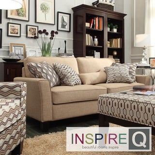 Hampton Mocha Linen Upholstered Track Arm Sofa
