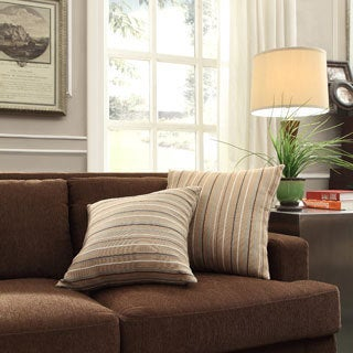 INSPIRE Q Clybourn 18-inch Toss Mocha Brown Stripe Accent Pillow (Set of 2)
