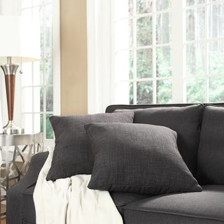 INSPIRE Q Clybourn 18-inch Grey Linen Toss Pillow (Set of 2)