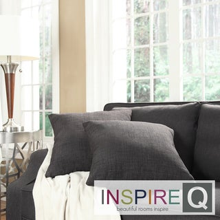 Inspire Q Kayla Burgundy Grey Linen 18-inch Square Throw Pillows (Set of 2)