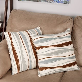 Inspire Q Kayla Pastel Wavy Stripe 18-inch Square Throw Pillows (Set of 2)