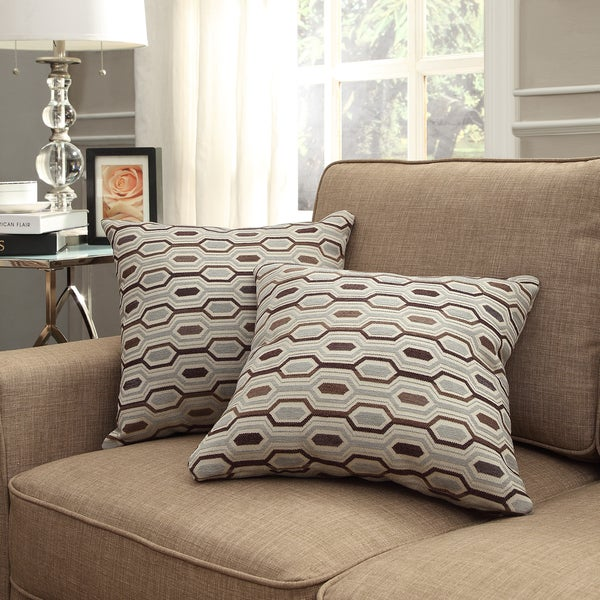 INSPIRE Q Clybourn 18-inch Toss Mocha Honeycomb Accent Pillow (Set of 2)