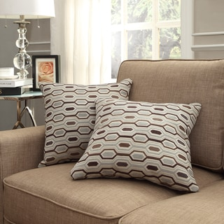 INSPIRE Q Clybourn 18-inch Toss Mocha Honeycomb Accent Pillow (Set of 2)